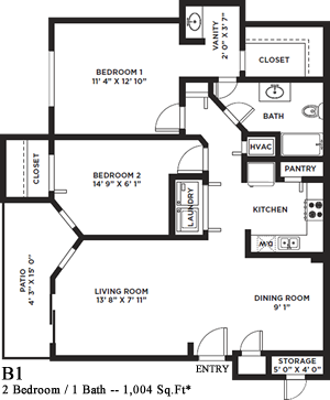 Breckenridge - Two Bedroom / One Bath - 1,004 Sq. Ft.*